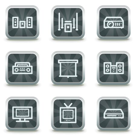 Audio video edit  web icons, grey square buttons Vector