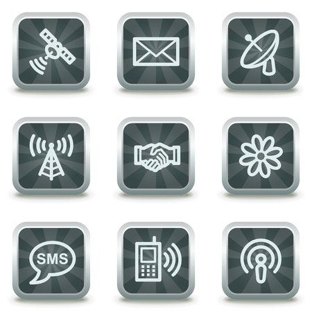 Communication web icons, grey square buttons Stock Vector - 9458521