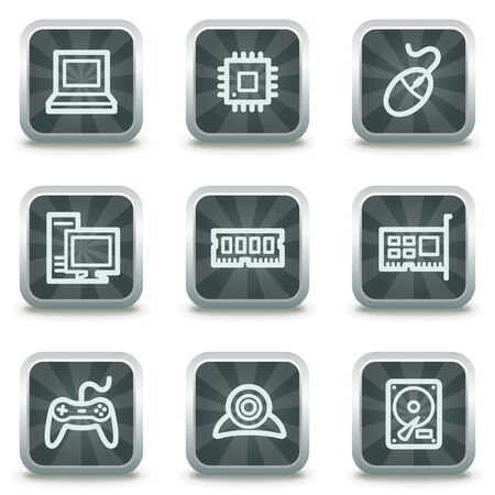 Computer web icons, grey square buttons Vector