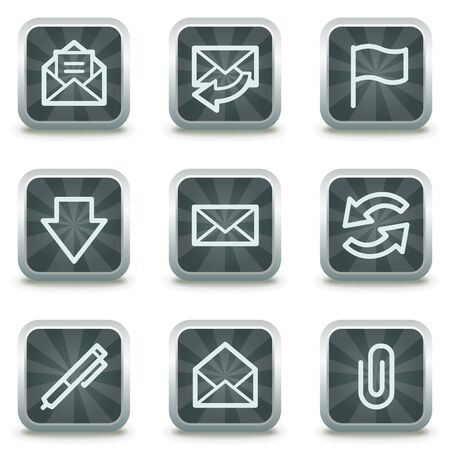 E-mail web icons, grey square buttons Stock Vector - 9458451