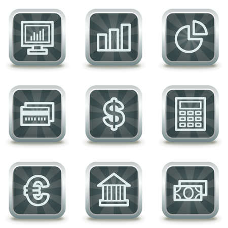 calc: Finance web icons set 1, grey square buttons