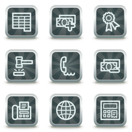 Finance web icons set 2, grey square buttons Stock Vector - 9458522