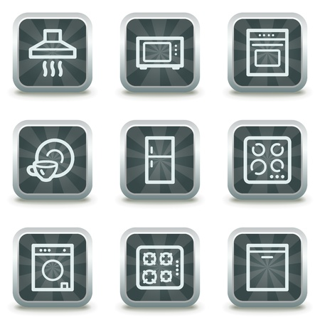 Home appliances web icons,  grey square buttons Vector