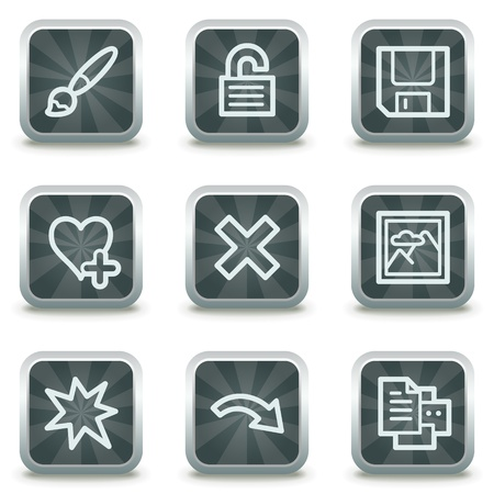 and viewer: Image viewer web icons set 2, grey square buttons Illustration
