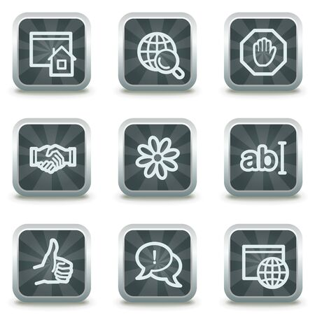 icq: Internet web icons set 1, grey square buttons