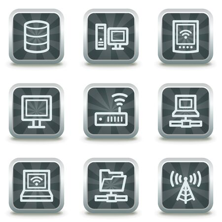 Network web icons, grey square buttons Stock Vector - 9458489