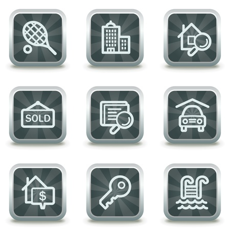 Real estate web icons, grey square buttons Stock Vector - 9458535
