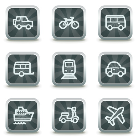 air liner: Transport web icons, grey square buttons