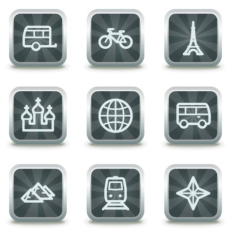 Travel web icons set 2, grey square buttons Vector