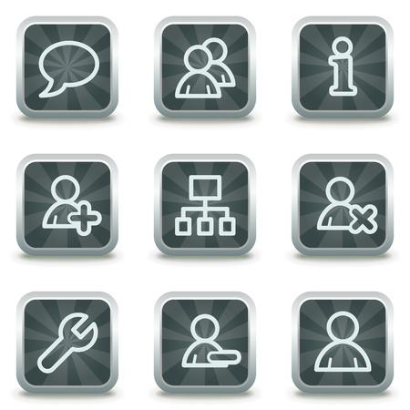 agregar: Los usuarios web iconos, botones cuadrado gris