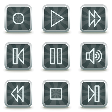 web icons, grey square buttons Vector