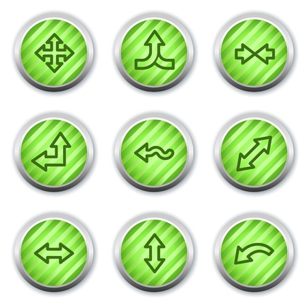 Arrows web icons set 2, green glossy circle buttons Vector