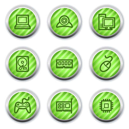 webcamera: Computer web icons, green glossy circle buttons