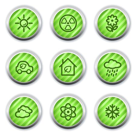 Ecology web icons set 2, green glossy circle buttons Stock Vector - 9458434