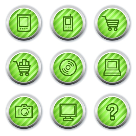 Electronics web icons set 1, green glossy circle buttons Vector