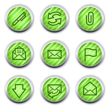 E-mail web icons, green glossy circle buttons Stock Vector - 9458388
