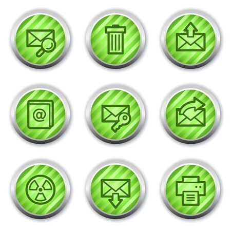E-mail web icons set 2, green glossy circle  buttons Stock Vector - 9458298