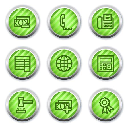 Finance web icons set 2, green glossy circle buttons Stock Vector - 9458430