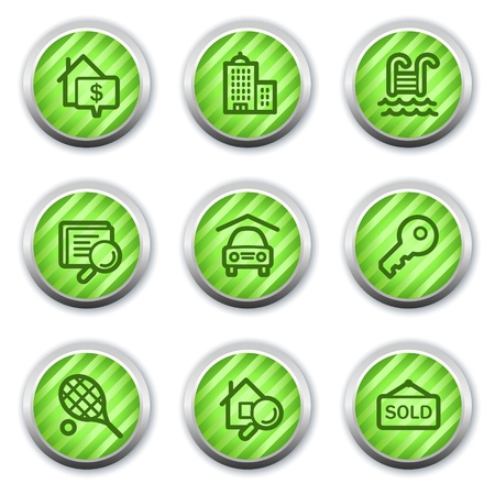 Real estate web icons, green glossy circle buttons Stock Vector - 9458443