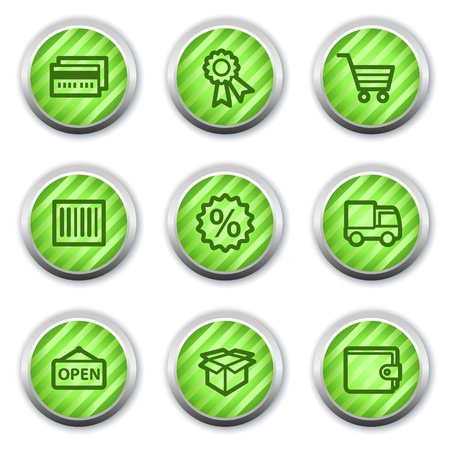 Shopping web icons set 2, green glossy circle buttons Vector