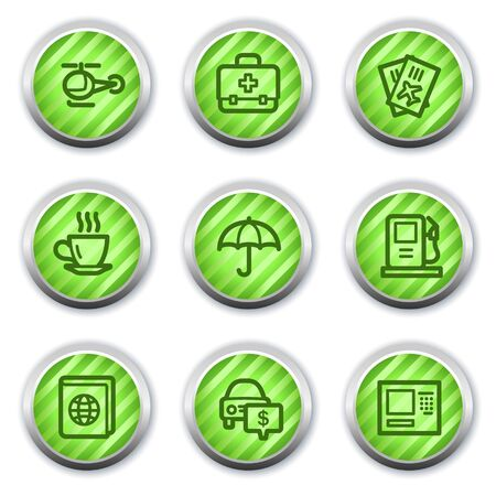 Travel web icons set 4, green glossy circle buttons Stock Vector - 9458442
