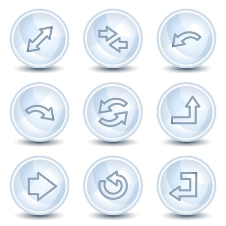 Arrows web icons set 1, light blue glossy circle buttons Vector
