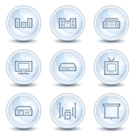 Audio video web icons, light blue glossy circle buttons Stock Vector - 9595324