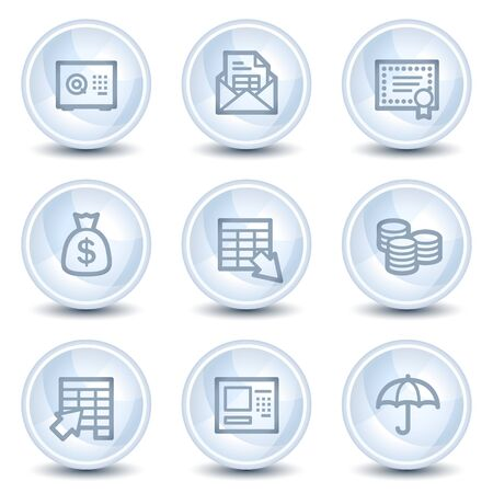 Banking  web icons, light blue glossy circle buttons Vector