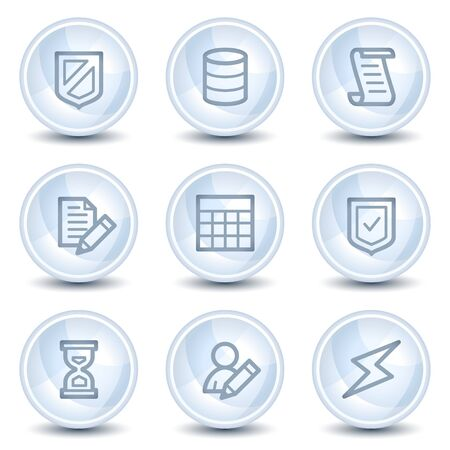 Database web icons, light blue glossy circle buttons Vector