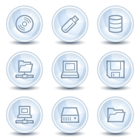 fdd: Drives and storage web icons, light blue glossy circle buttons