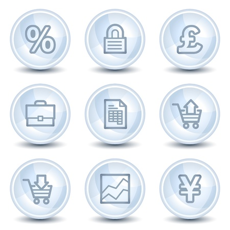 E-business web icons, light blue glossy circle buttons Stock Vector - 9595356