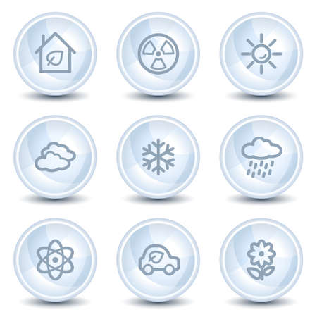 Ecology web icons set 2, light blue glossy circle buttons Vector
