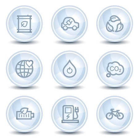 electro world: Ecology web icons set 4, light blue glossy circle buttons
