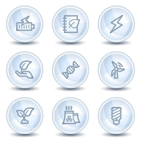 Ecology web icons set 5, light blue glossy circle buttons Vector