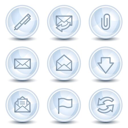 edit button: E-mail web icons, light blue glossy circle buttons