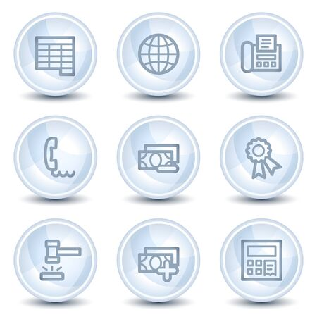 Finance web icons set 2, light blue glossy circle buttons Vector