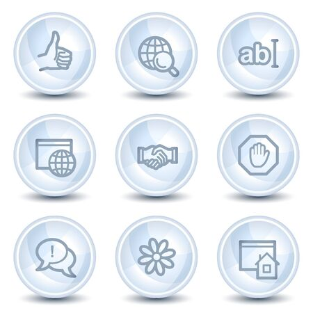 Internet web icons set 1, light blue glossy circle buttons Vector