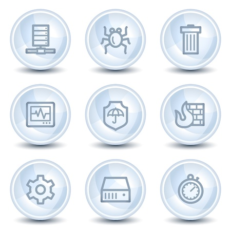 Internet security web icons, light blue glossy circle buttons Vector