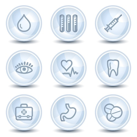Medicine web icons set 1, light blue glossy circle buttons Vector