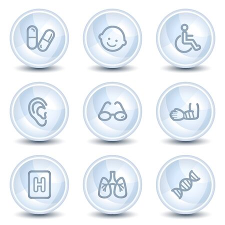 Medicine web icons set 2, light blue glossy circle buttons Vector