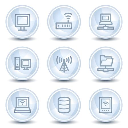 Network web icons, light blue glossy circle buttons