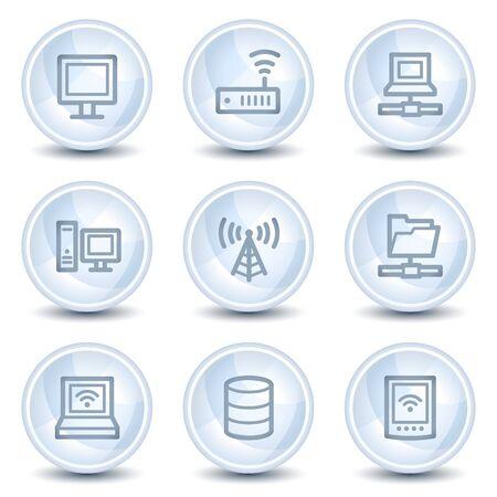 wifi access: Rete web icone, pulsanti di luce cerchio blu lucido