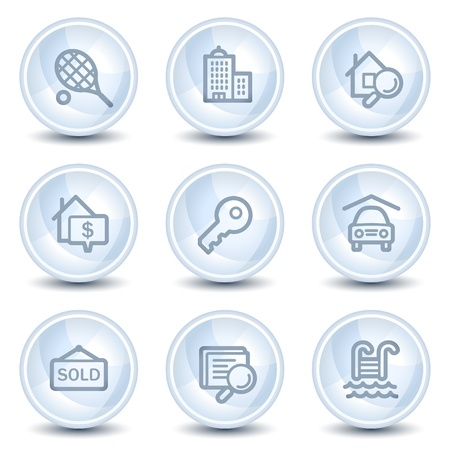 Real estate  web icons, light blue glossy circle buttons Stock Vector - 9595428
