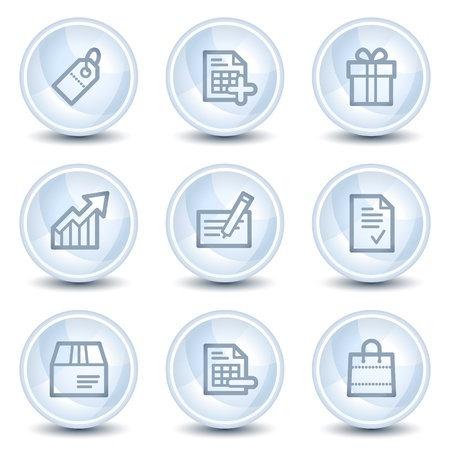Shopping web icons set 1, light blue glossy circle buttons Vector
