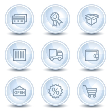 billfold: Shopping web icons set 2, light blue glossy circle buttons