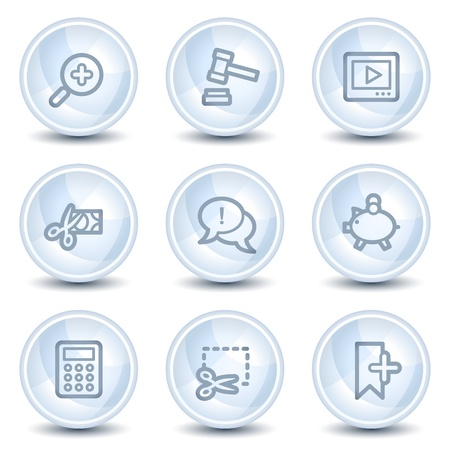 Shopping web icons set 3, light blue glossy circle buttons Vector