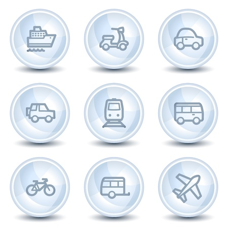 air liner: Transport web icons, light blue glossy circle buttons