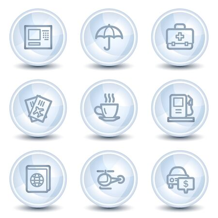 Travel web icons set 4, light blue glossy circle buttons Vector