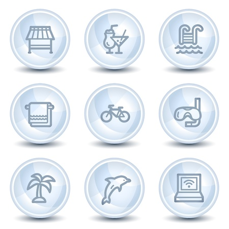 Vacation web icons, light blue glossy circle buttons Vector