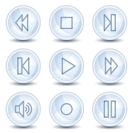 portable audio: Portable audio web icons, light blue glossy circle buttons